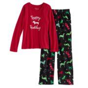 Girls 7-16 Jammies For Your Families Holiday Dog Top & Fleece Bottoms Pajama Set