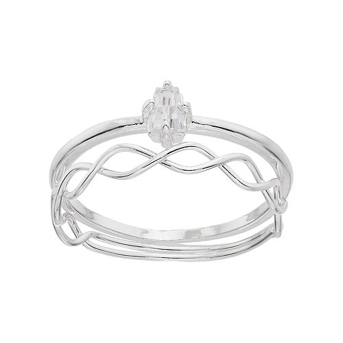 LC Lauren Conrad Twisted & Solitaire Ring Set