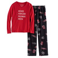 Girls 7-16 Jammies For Your Families Movie Night Top & Fleece Bottoms Pajama Set