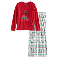 Girls 7-16 Jammies For Your Families 'Don't Get Your Tinsel in a Tangle' Top & Fleece Bottoms Pajama Set