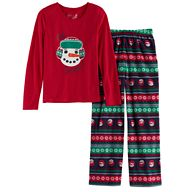 Girls 7-16 Jammies For Your Families Snowman Fairisle Top & Microfleece Bottoms Pajama Set