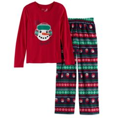 Girls 7-16 Jammies For Your Families Snowman Fairisle Top & Microfleece Bottoms Pajama Set