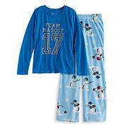 Girls 7-16 Jammies For Your Families 'Team Mascot' Top & Football Snowmen Fleece Bottoms Pajama Set