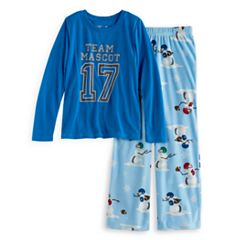 Girls 7-16 Jammies For Your Families 'Team Mascot' Top & Football Snowmen Fleece Bottoms Pajama Set