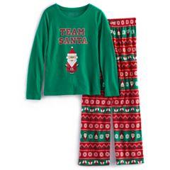Girls 7-16 Jammies For Your Families 'Team Santa' Top & Microfleece Bottoms Pajama Set
