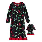 Girls 4-16 Jammies For Your Families Holiday Dog Microfleece Nightgown & Doll Gown Pajama Set