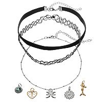 Mudd® Pisces, Mermaid & Heart Interchangeable Charm Necklace Set