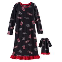 Girls 4-16 Jammies For Your Families Movie Night Microfleece Nightgown & Doll Gown Pajama Set