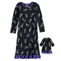 Girls 4-16 Jammies For Your Families Skeleton Microfleece Halloween Nightgown & Doll Gown Pajama Set