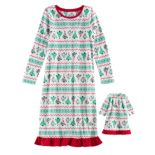 Girls 4-16 Jammies For Your Families Christmas Tree Fairisle Microfleece Nightgown & Doll Gown Pajama Set