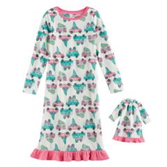 Girls 4-16 Jammies For Your Families Retro Car Microfleece Nightgown & Doll Gown Pajama Set