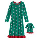 Girls 4-16 Jammies For Your Families Holiday Cat Microfleece Nightgown & Doll Gown Pajama Set