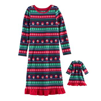 Girls 4-16 Jammies For Your Families Snowman Fairisle Microfleece Nightgown & Doll Gown Pajama Set