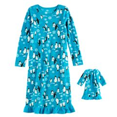 Girls 4-16 Jammies For Your Families Penguin Microfleece Nightgown & Doll Gown Pajama Set
