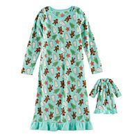 Girls 4-16 Jammies For Your Families Holiday Cookies Microfleece Nightgown & Doll Gown Pajama Set