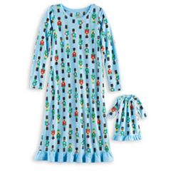 Girls 4-16 Jammies For Your Families Nutcracker Microfleece Nightgown & Doll Gown Pajama Set