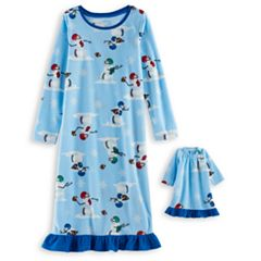 Girls 4-16 Jammies For Your Families Football Snowmen Microfleece Nightgown & Doll Gown Pajama Set