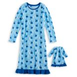 Girls 4-16 Jammies For Your Families Hanukkah Polar Bear Microfleece Nightgown & Doll Gown Pajama Set
