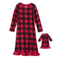 Girls 4-16 Jammies For Your Families Buffalo Plaid Microfleece Nightgown & Doll Gown Pajama Set