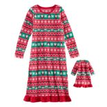Girls 4-16 Jammies For Your Families Santa Fairisle Microfleece Nightgown & Doll Gown Pajama Set