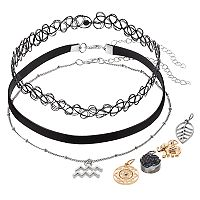 Mudd® Aquarius, Elephant & Leaf Charm Choker Necklace Set
