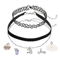 Mudd® Capricorn, Star & Lotus Flower Charm Choker Necklace Set