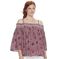 Juniors' Rewind Smocked Off-the-Shoulder Top