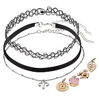 Mudd® Aries, Elephant & Leaf Interchangeable Charm Choker Necklace Set