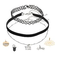 Mudd® Virgo, Star & Lotus Flower Charm Choker Necklace Set