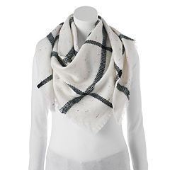 Candie's® Windowpane Nep Yarn Triangle Scarf