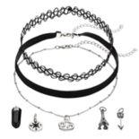 Mudd® Cancer, Eiffel Tower & Compass Charm Choker Necklace Set