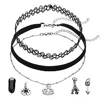 Mudd® Cancer, Eiffel Tower & Compass Charm Choker Necklace Set