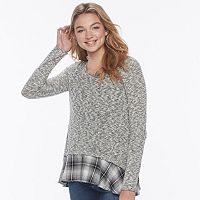 Juniors' Cloudchaser Print Hem Sweater