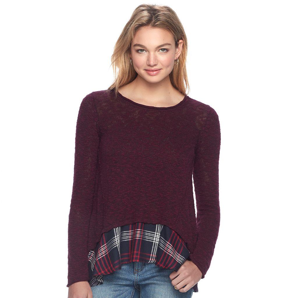 Juniors' Cloud Chaser Print Hem Sweater