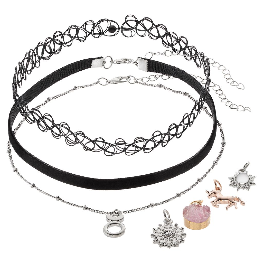 Mudd® Leo, Unicorn & Starburst Interchangeable Charm Choker Necklace Set