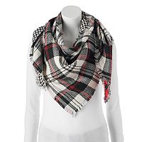 Candie's® Plaid & Houndstooth Patchwork Triangle Scarf