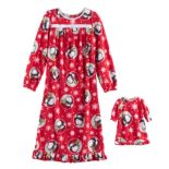 Girls 4-10 Jammies For Your Families Peanuts Snoopy & Woodstock Sledding Microfleece Nightgown & Doll Gown Set