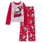 Girls 4-12 Jammies For Your Families Peanuts Snoopy & Woodstock Sledding Top & Microfleece Bottoms Pajama Set