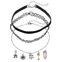 Mudd® Sagittarius, Eiffel Tower & Compass Interchangeable Charm Necklace Set