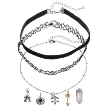 Mudd® Sagittarius, Eiffel Tower & Compass Interchangeable Charm Necklace Set