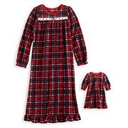 Disney's Mickey Mouse Girls 4-10 Plaid Microfleece Nightgown & Doll Gown Pajama Set by Jammies For Your Families
