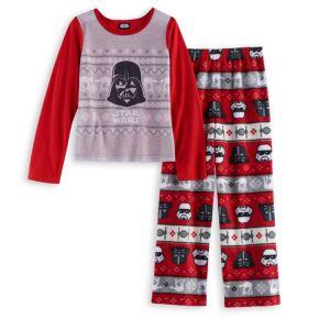 Girls 4-12 Jammies For Your Families Star Wars Darth Vader & Stormtrooper Fairisle Top & Microfleece Bottoms Pajama Set