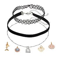 Mudd® Libra, Mermaid & Heart Charm Choker Necklace Set
