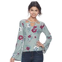 Juniors' Mudd® Cutout Bell Sleeve Top