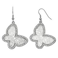 Mudd® Nickel Free Scrollwork Butterfly Drop Earrings