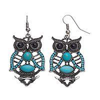 Mudd® Turquoise Antiqued Owl Nickel Free Drop Earrings