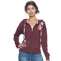 Juniors' Mudd® Floral Embroidered Zip-Up Hoodie