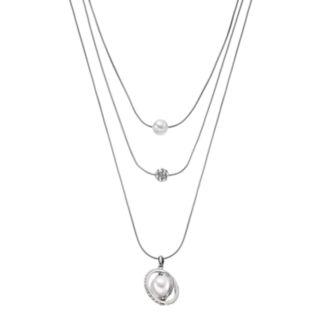 Simply Vera Vera Wang Simulated Pearl, Fireball & Orbital Layered Pendant Necklace
