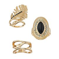 Mudd® Feather, Black Marquise Stone & Wavy Ring Set