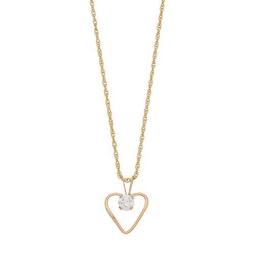 Renaissance Collection 10k Gold Cubic Zirconia Heart Pendant Necklace